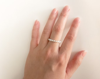 AAA freshwater pearl ring, Tiny pearl ring, sterling silver ring,  Peach Pearl Ring, lavender Pearl Ring,stacking ring, silver ring,