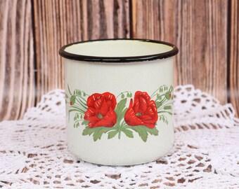 Vintage émail coupe rétro URSS vaisselle rustique Mug Country Home Decor primitif tasse Mug avec jante noire coupe en métal rustique vieux rétro Tableware1