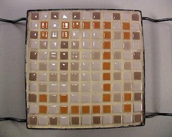 Vintage Mosaic Tile Trivet Ceramic Tile Trivet Mid Century Kitchen Trivet Vintage Pot Holder Counter Saver Cream Orange Tan Beige