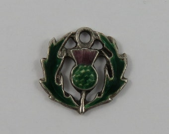 Enamel Scottish Thistle Sterling Silver Vintage Charm For Bracelet