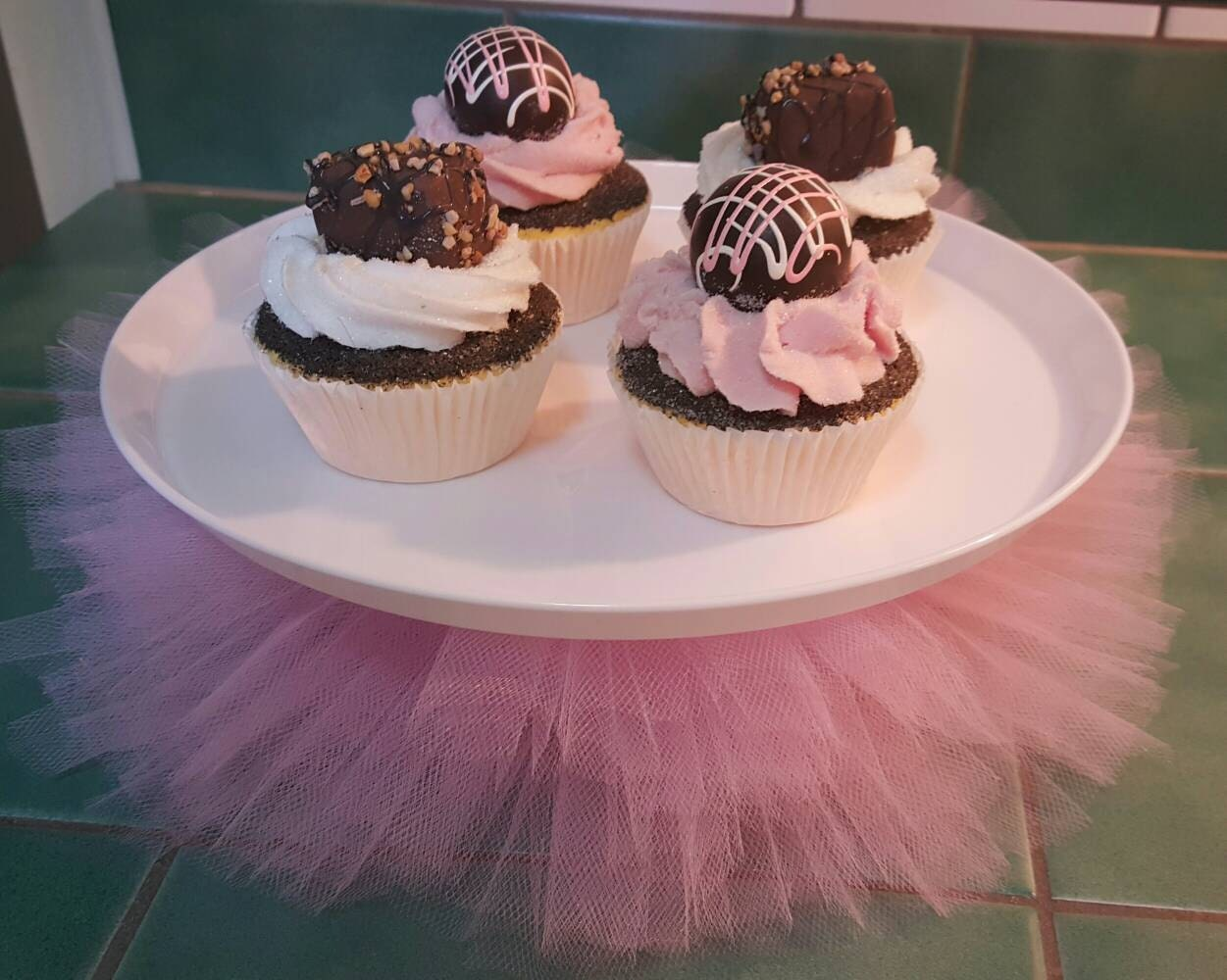 🔎zoom & CAKE STAND TUTU princess Pink Tulle Plate Cupcake dessert