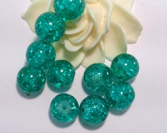 60 beads Crackle Glass round, green, 10 mm, (88 (A)