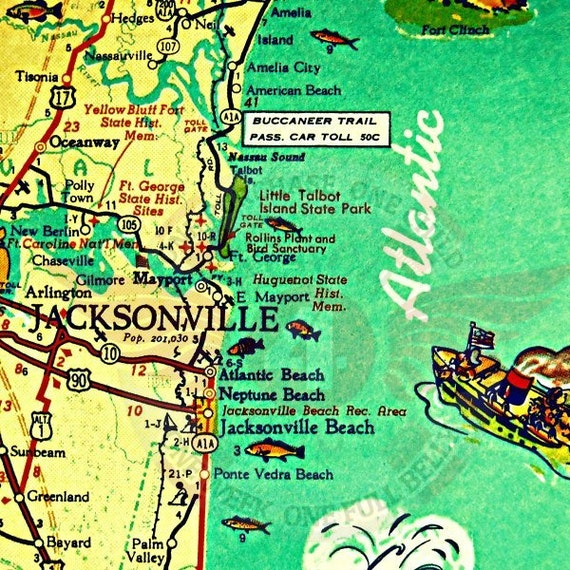 Jacksonville Florida Map Jacksonville Beach Art Old Florida