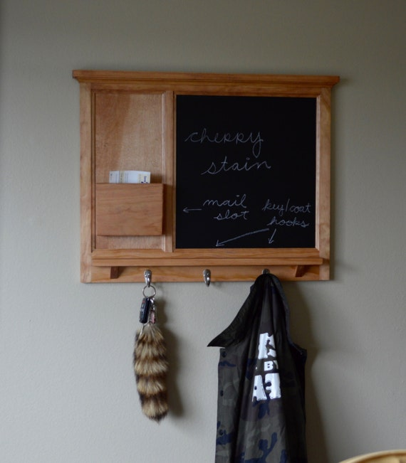 Cherry Stained Chalkboard Mail Organizer letter holder  Key / Coat / Hat rack - RusTic - Home Decor