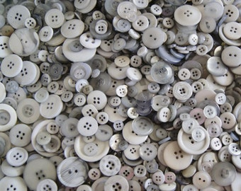 100 Grey Gray  Button Mix , Assorted Sizes, Crafting Jewelry Collect (1296)
