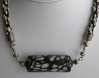 SALE  Sale  Black Butterfly Wings Artist Polymer Clay and Kumihimo Necklace With Silk Cords Black, Gray, Straw
