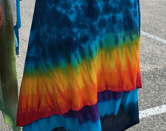 Tie Dye Rainbow Gauzy hi-lo two-layer dancer skirt