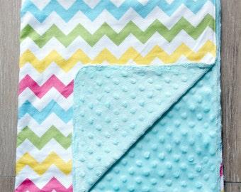 Chevron Flannel Minky Baby Blanket ~ Crib Bedding ~ Receiving Swaddle Blanket ~ Stroller Blanket ~ Baby Shower Gift ~ Neutral Gender