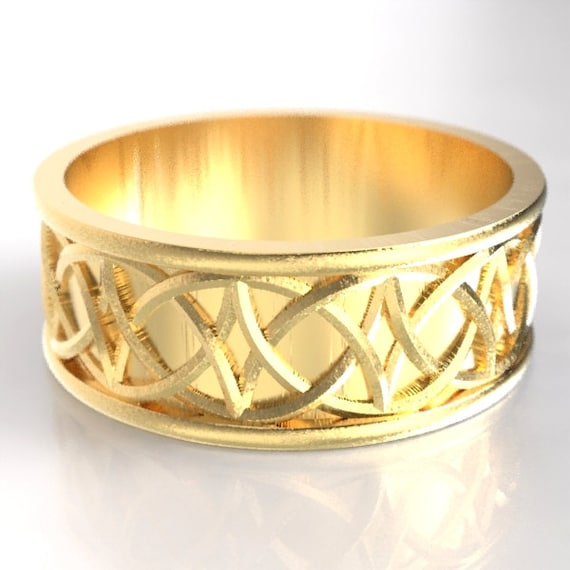 Gold Celtic Love Knot Ring With Braided Knotwork Design in 10K 14K 18K Gold, Palladium or Platinum, Made in Your Size Cr-109