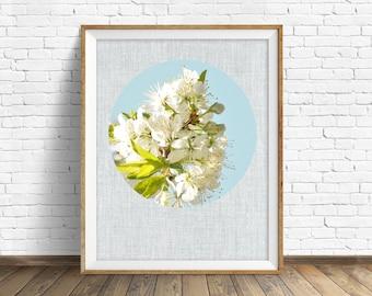 "botanical, art, nature, photography, instant download printable art, printable art, large art, large wall art, modern - ""Blossoms & Blue"""