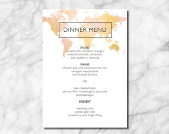 World Map Dinner Menu - Travel Themed Weddings