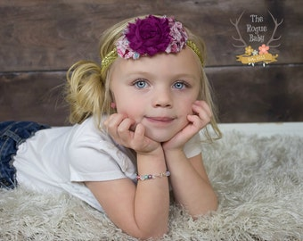 Gold Pink and Magenta Paisley Headband -  Fit for Royalty - Newborn Infant Baby Toddler Girls Adult