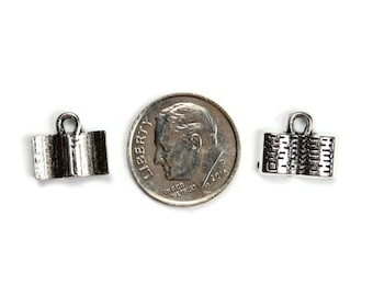 8 Antique Silver Open Book Charms