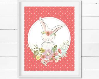 Pink Spring Bunny - Easter Bunny - Digital Download