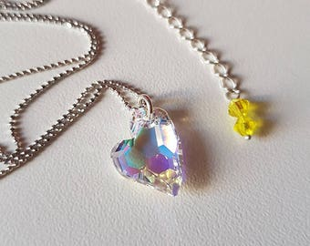 Crystal Heart necklace with Swarovski crystals and preciosa crystals