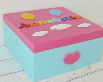 Personalised Baby Keepsake Box - Rainbow Baby Memory Box -Baby Gift Box -Baby's Firsts - Christening Gift -Rainbow Decor -Baby Girl Gift