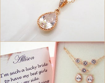 Simple Wedding Necklace Rose Gold, Crystal Wedding Necklace, Crystal Bridal Necklace Rose Gold, Bridesmaid Necklace Rose Gold Pendant