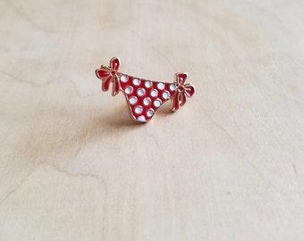 Red Polka Dot Bikini Bottom Enamel Pin