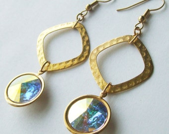 Gold Dangle Rivoli Earrings
