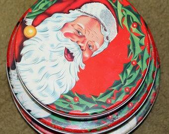 Santa Claus Nesting Tins Retro Santa Christmas Set of 3 Vintage X-Mas Decor Cookies Candy Containers Tin Canister Set Retro Christmas