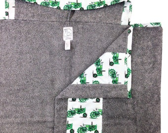 Tractors Hooded Gray Towel Green Blue Gray