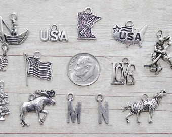 12pc State of Minnesota Charm Pendant Lot Set Collection/ Jewelry, Scrapbooking/Choose Charms, Split Rings, Lobster Clasps,or European Bails