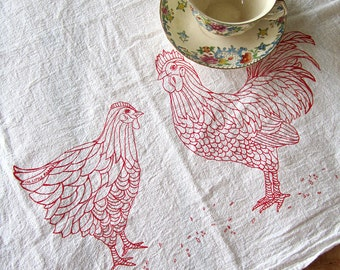 Tea Towel - Screen Printed Flour Sack Towel - Chicken - Rooster - Eco Friendly Cotton Towel - Classic Flour Sack - Kitchen Towel - Farmhouse
