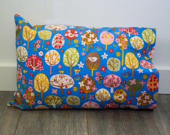 Birds in Trees Floral Pillowcase - fits 13 x 18 Travel or Toddler Pillow