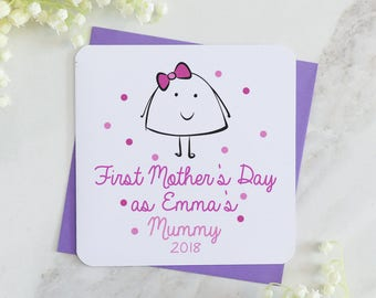 1st mother's day card, personalised mum card, mother's day, pink card, personalised card, spot card, mummy card, mum card, from baby card,uk