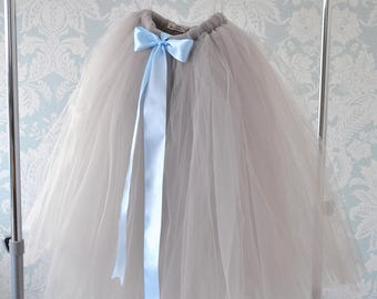 Long Grey Tutu, Full Length Tutu, Tutu Skirt, Girls Tutu, Flower Girl Tutu, Tulle Skirt, Flower Girl Dress, Baby Tutu, Wedding Tutu