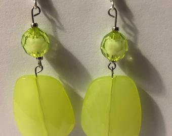 Green, silver, mulit shape, earrings