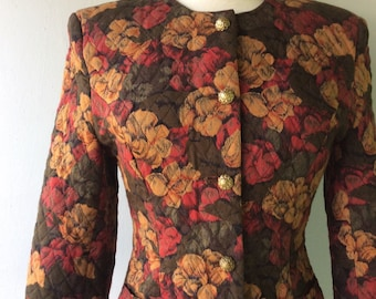 Vintage QUILTED Fabric Floral Blazer with Gold Ornate Buttons