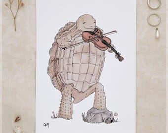 The Tortoise & His Violin ~ A5 Art Print from Original Ink and Watercolour Painting