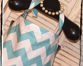 CHEVRON Sale 40% - Large Aqua Chevron Nursing Cover- HideAway with OVERALL BUCKLE-Ready 2 Ship