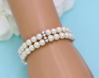 Bridal bracelet Pearl, Double Strand wedding bracelet, rhinestone pearl bracelet, crystal pearl bracelet, Madelyn Double Pearl Bracelet