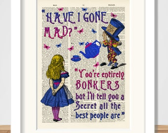 Alice in Wonderland and Mad Hatter Bonkers A4 Giclee Art Print, Wall Art, Nursery, Art Poster,Reproduction antique dictionary art