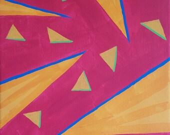 Orange, rouge, vert et bleu acrylique peinture abstraite sur toile «série 9 XXVIII» Wall Art, décoration d'intérieur, Tenture murale