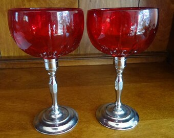 Red Glass and Chrome Mid Century Stemware