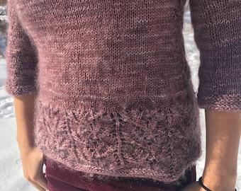 Knitting Pattern, Elm Leaves Raglan Sweater