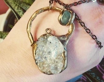 Rudimental druzy pendant gothic and medieval look with amethyst crystal and clear druzy