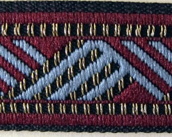 WALLANDER, 3 yards geometric Jacquard trim in blue, wine red and antique metallic gold. 5/8 inch wide. 2047-A