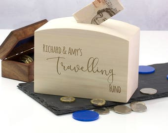 Travelling Money Box - Travelling Fund - Personalised Money Box - Travel Gifts - Gift For Her - Gifts For Him - Money Bank - LC229