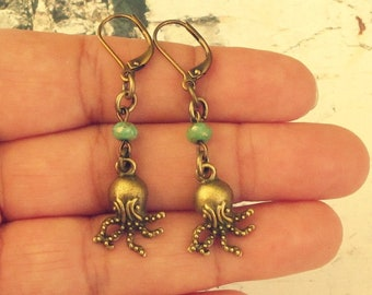 Octopus Gifts, Octopus Accessories, Baby Octopus Earrings, Octopus Jewelry, Sea Life Earrings, Unique Gifts For Cephalopod Lovers