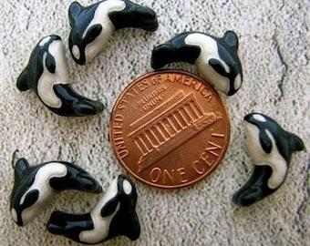 10 Tiny Orca Beads - CB61