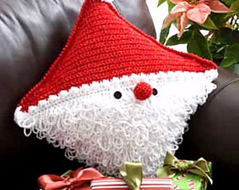 INSTANT DOWNLOAD PDF Vintage Crochet Pattern for Santa Cushion  Father Christmas Pillow Holiday Decor
