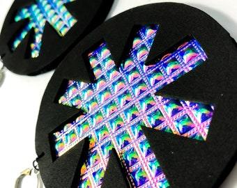 "Holographic Earrings ""Chaos"" festival drag rave ethical vegan cruelty free"