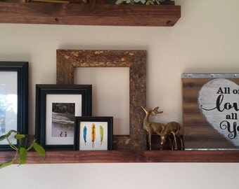 THE LEDGE [STAINED]: Wood Wall Shelf for Books, Picture Frames, Art, & Display