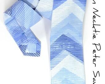 Wedding Mens Necktie Blue and White Chevron tie