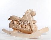 En bois à bascule moto, moto Rocker non peintes, en bois à bascule jouet, moto pour enfants, moto enfants