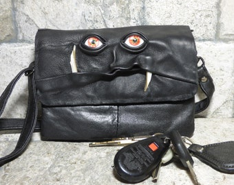 Leather Handbag Pocketbook Purse With Monster Face Cross Body Messenger Bag Harry Potter Labyrinth Purple Black 423